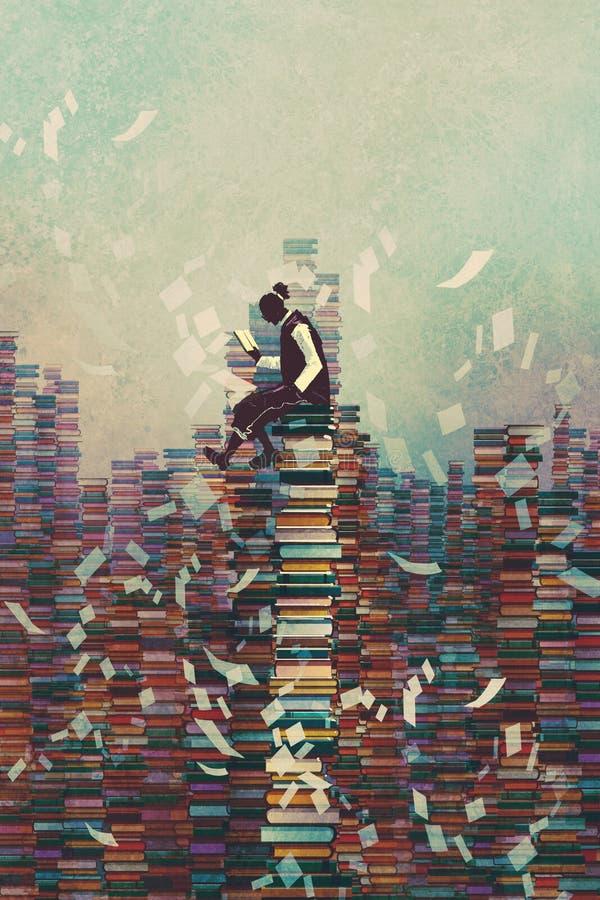 Equipe o livro de leitura ao se sentar na pilha dos livros, ilustração stock