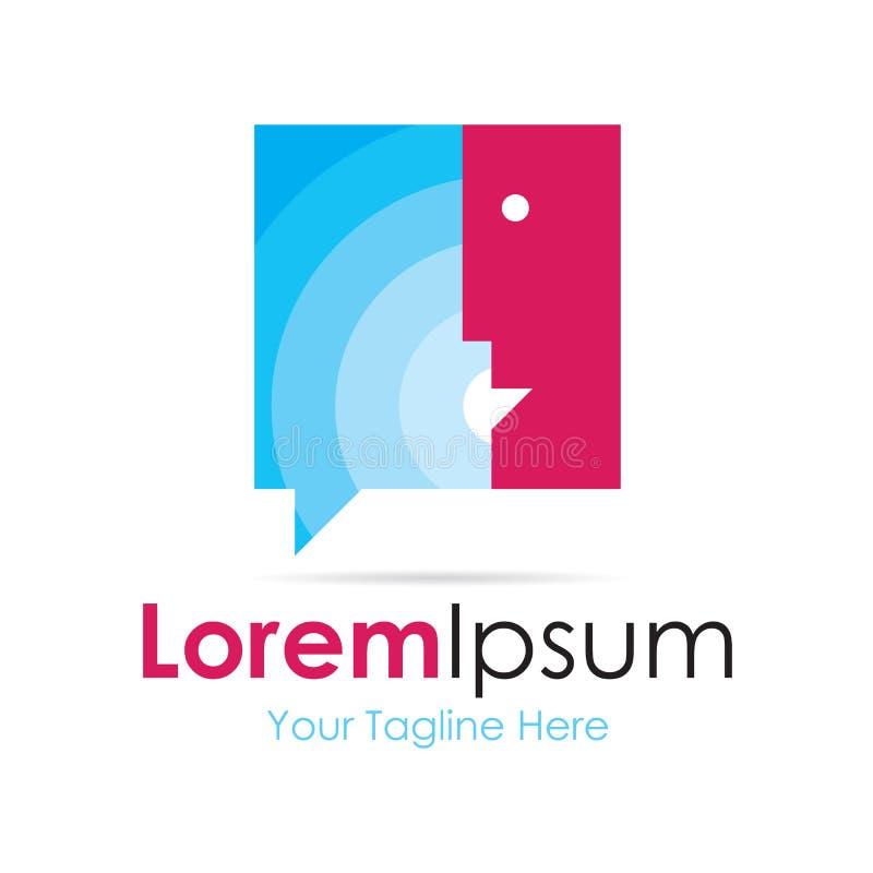 Equipe o logotipo simples de fala do ícone do negócio da bolha azul ilustração stock