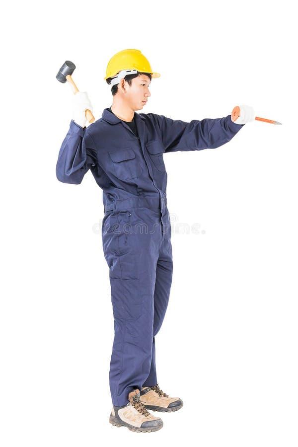 Equipe o martelo da posse e o formão frio no branco foto de stock