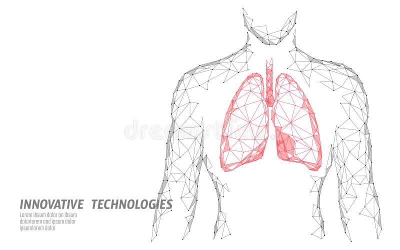 Equipe o modelo saudável da medicina dos pulmões 3d da silhueta baixo poli Ponto conectado triângulo do fulgor dos pontos Doutor  ilustração stock