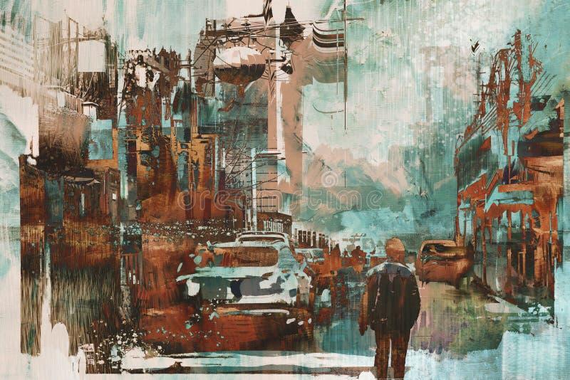 Equipe o passeio na rua da cidade com textura da pintura do abtract ilustração royalty free