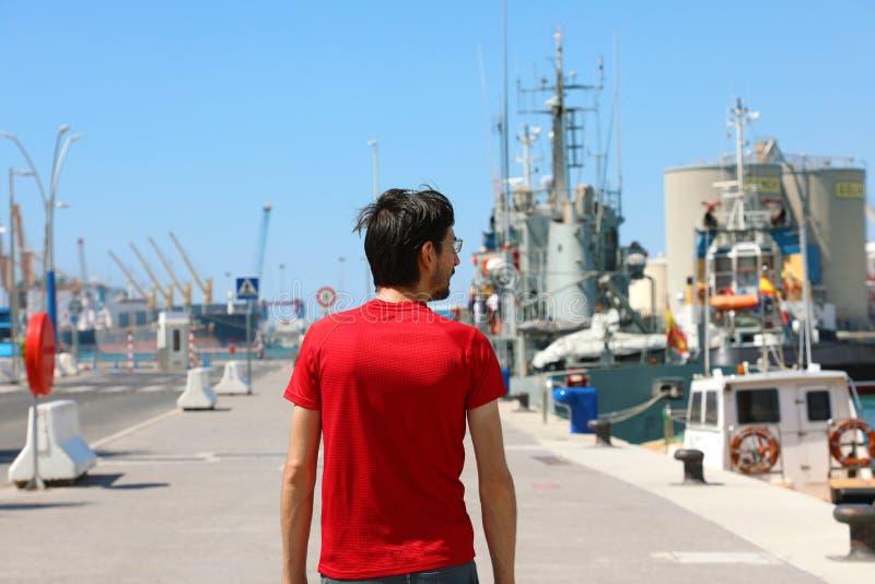 Equipe o passeio no porto do porto de Malaga, Espanha fotografia de stock