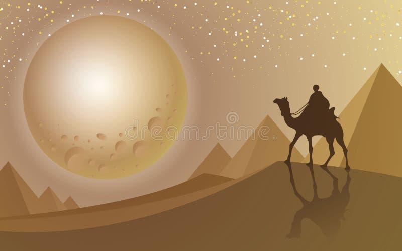 Equipe o passeio um camelo que olha ao máximo a lua no deserto e na pirâmide imagens de stock