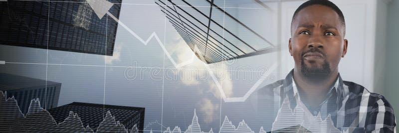 equipe o pensamento na sala com transição do negócio do mercado de valores de ação imagem de stock