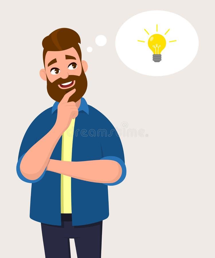 Equipe o pensamento para o ícone do bulbo ou o símbolo com sorriso Conceito da ideia, da inovação ou da iniciação ilustração stock