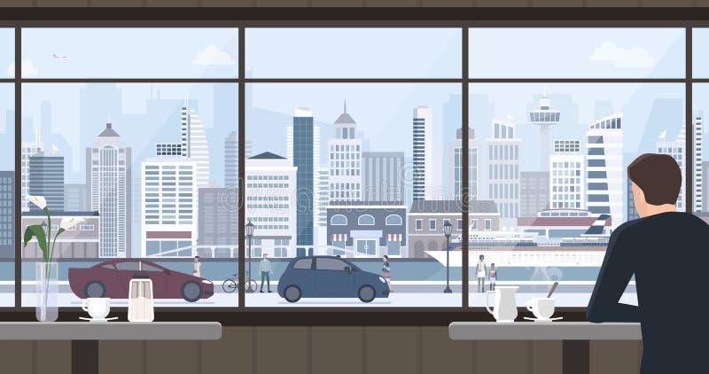 Equipe o relaxamento no café e a vista da janela ilustração stock