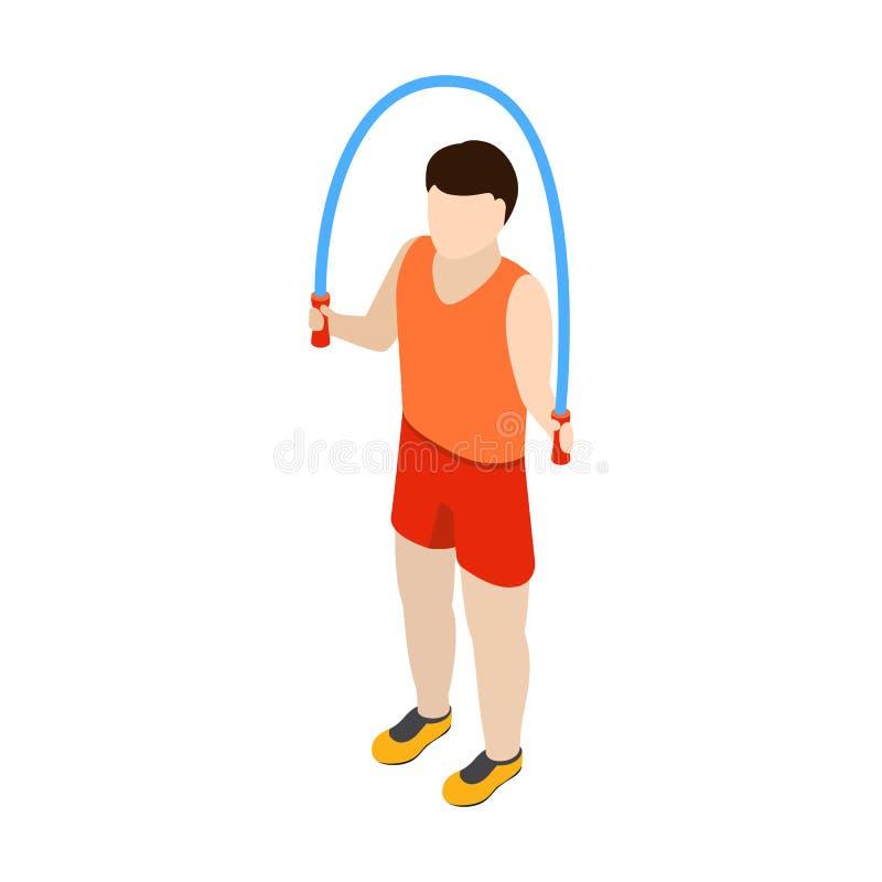 Equipe o salto com ícone da corda de salto, 3d isométrico ilustração royalty free