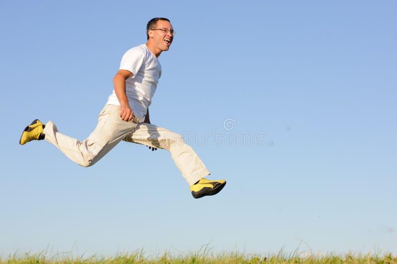 Equipe o salto no campo verde fotos de stock