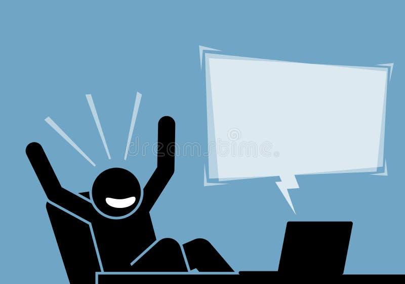 Equipe o sentimento entusiasmado e feliz após ter visto o índice e o anúncio do computador e do Internet ilustração do vetor
