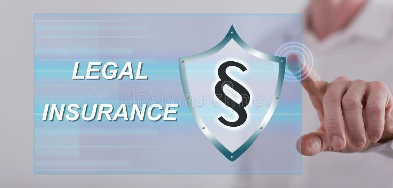 Equipe o toque de um conceito legal do seguro em um tela táctil imagem de stock royalty free