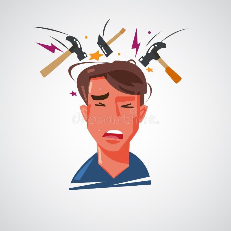 Equipe a obtenção da dor de cabeça com o martelo que bate em sua cabeça dor de cabeça a ilustração do vetor