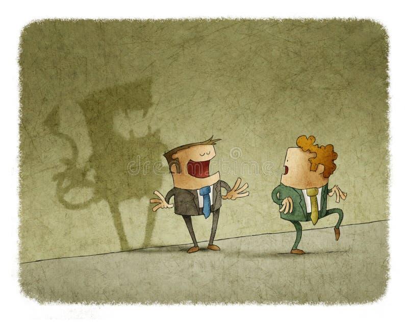 Equipe pontas do pé ao olhar a sombra má do colega na parede ilustração do vetor