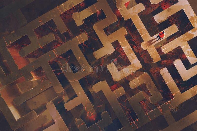 Equipe a posição acima do labirinto com a lava rachada ilustração royalty free
