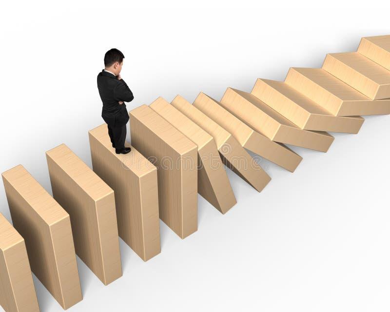Equipe a posição e o pensamento em dominós de madeira de queda ilustração stock