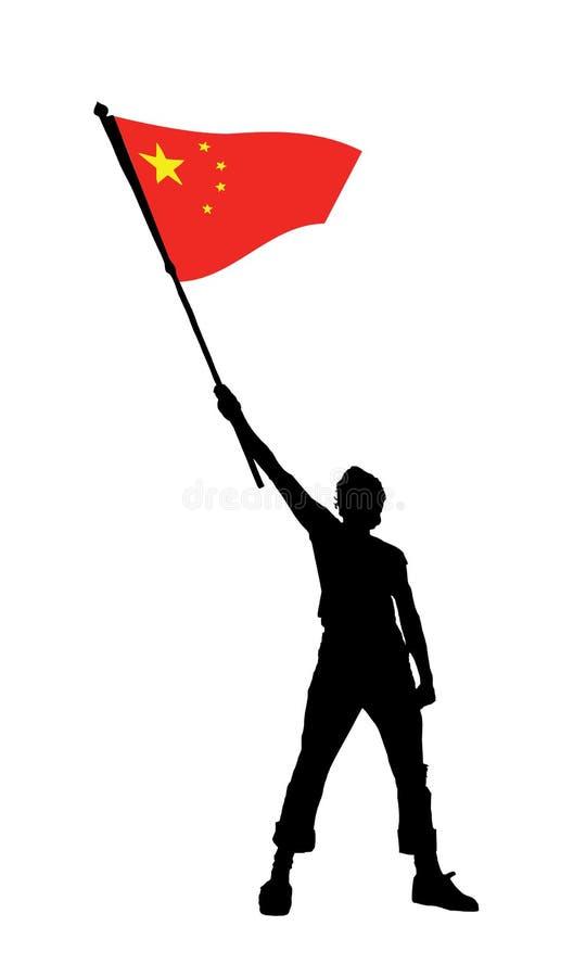 Equipe prender uma bandeira da porcelana, ilustração do vetor ilustração do vetor