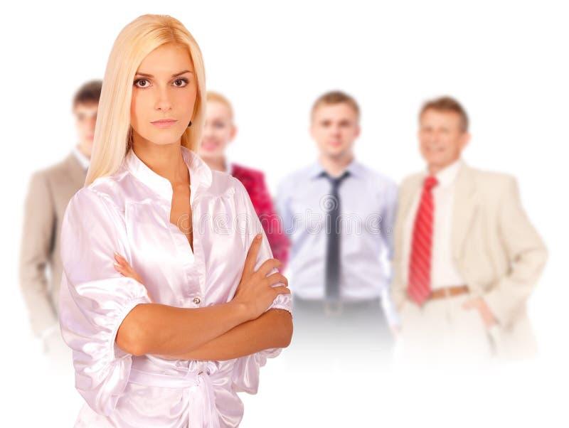 Equipe principal do retrato da mulher de negócio imagem de stock