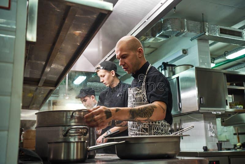 Equipe profissional -- Molde B do negócio corporativo Cozinheiro chefe concentrado no avental, com tatuagens em seus braços cozin fotos de stock