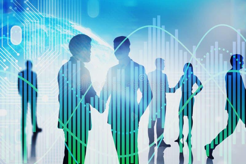 Equipe que comunica-se, terra digital do negócio, gráfico ilustração royalty free