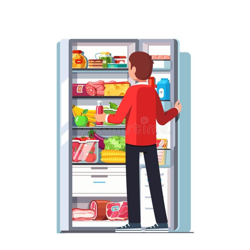 Equipe remover o suco do refrigerador aberto ilustração stock