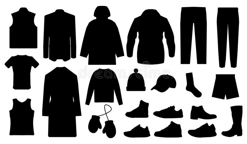 Equipe a roupa e coleção dos acessórios - vestuário da forma - vector a ilustração da silhueta do ícone ilustração royalty free