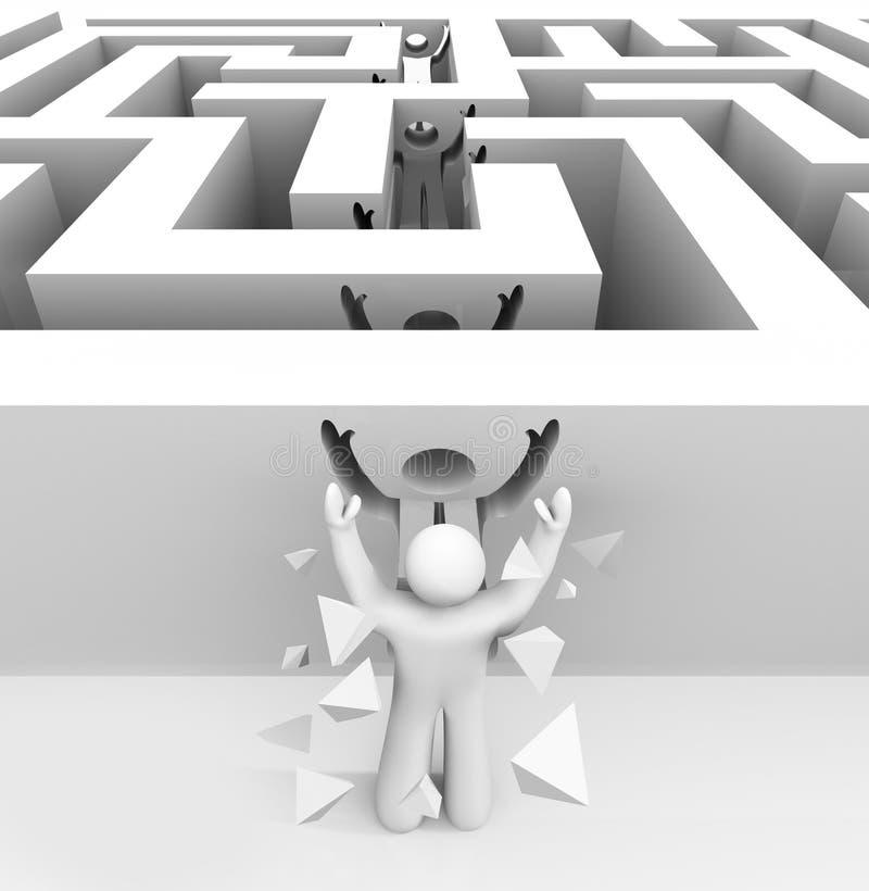 Equipe rupturas através do labirinto ilustração do vetor