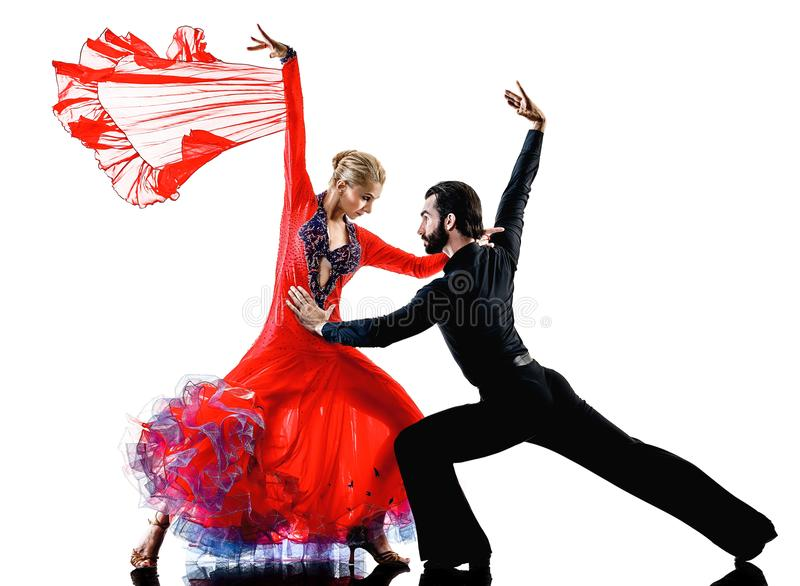 Equipe a silhueta da dança do dançarino da salsa do tango do salão de baile dos pares da mulher imagem de stock