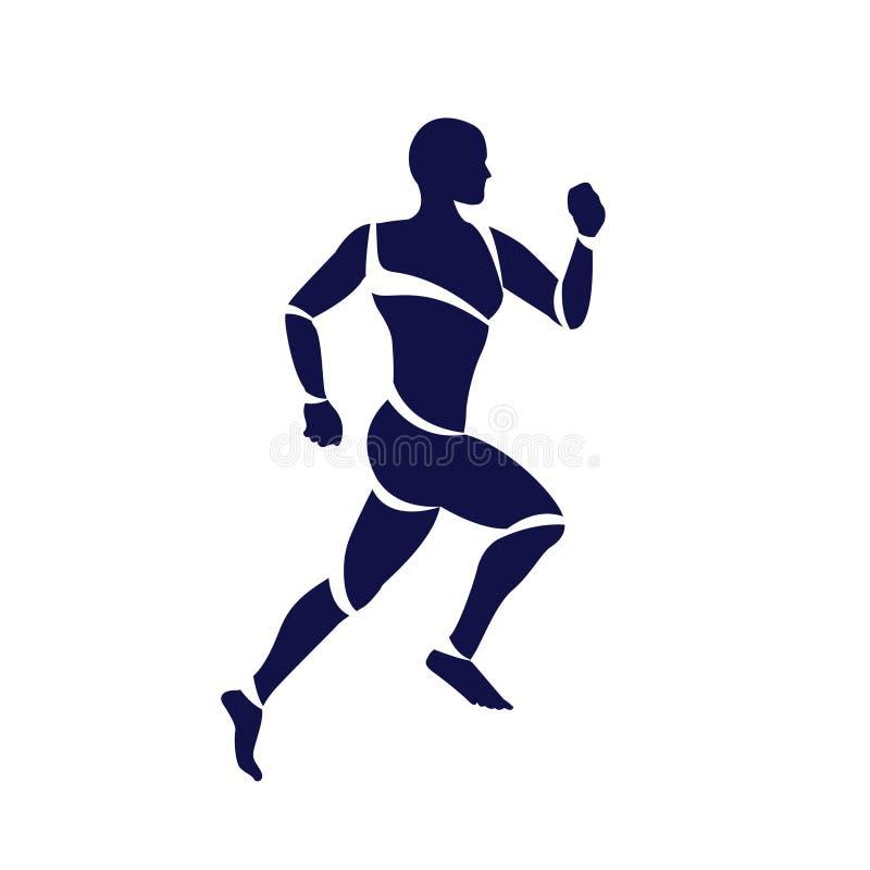 Equipe a sprint que corre o ícone liso para apps e Web site do exercício ilustração stock
