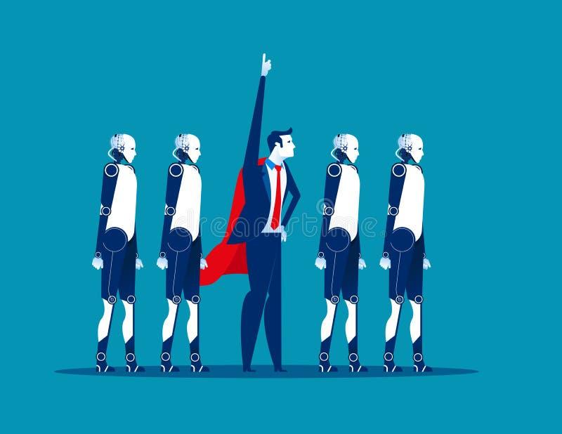 Equipe super Líder de negócio e robô Ilustração do vetor do negócio do conceito tecnologia da automatização ilustração stock