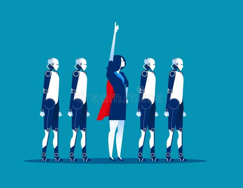 Equipe super Líder de negócio e robô Ilustração do vetor do negócio do conceito tecnologia da automatização ilustração royalty free