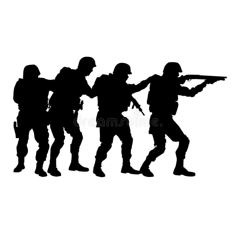 Equipe SWAT na silhueta do vetor da formação de pilha ilustração royalty free