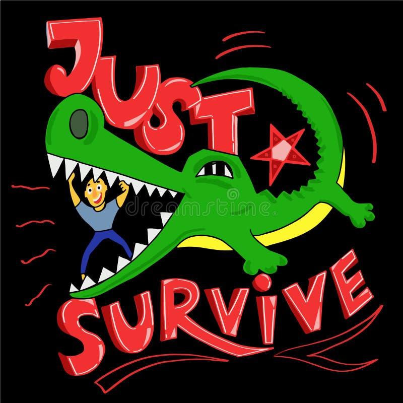 Equipe a tentativa para sobreviver e abrir à maxila do crocodilo ilustração stock