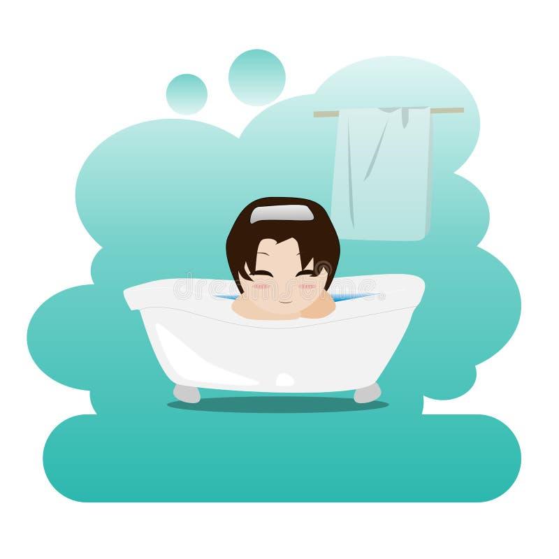 Equipe a tomada de um banho de espuma de relaxamento no banheiro chuveiro Imagem na higiene pessoal ilustração stock