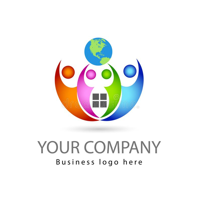 A equipe trabalha multi quatro pessoas da cor junto no fundo branco com logotipo do vetor do globo ilustração do vetor