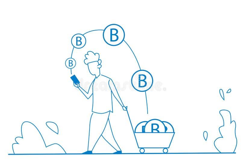 Equipe usando a moeda móvel da mineração da aplicação do bitcoin na silhueta do caráter da riqueza do crescimento do conceito do  ilustração do vetor