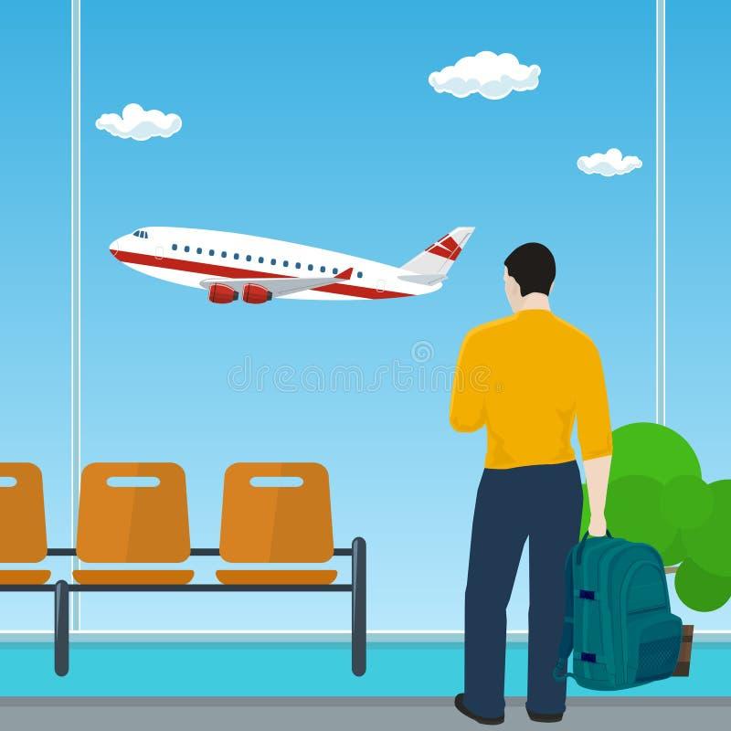 Equipe a vista para fora da janela em um avião do voo ilustração do vetor