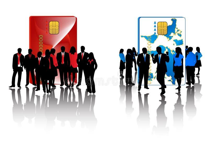 Equipes vermelhas e azuis do negócio ilustração do vetor
