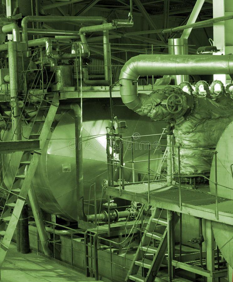 Equipment, cables and piping stock image