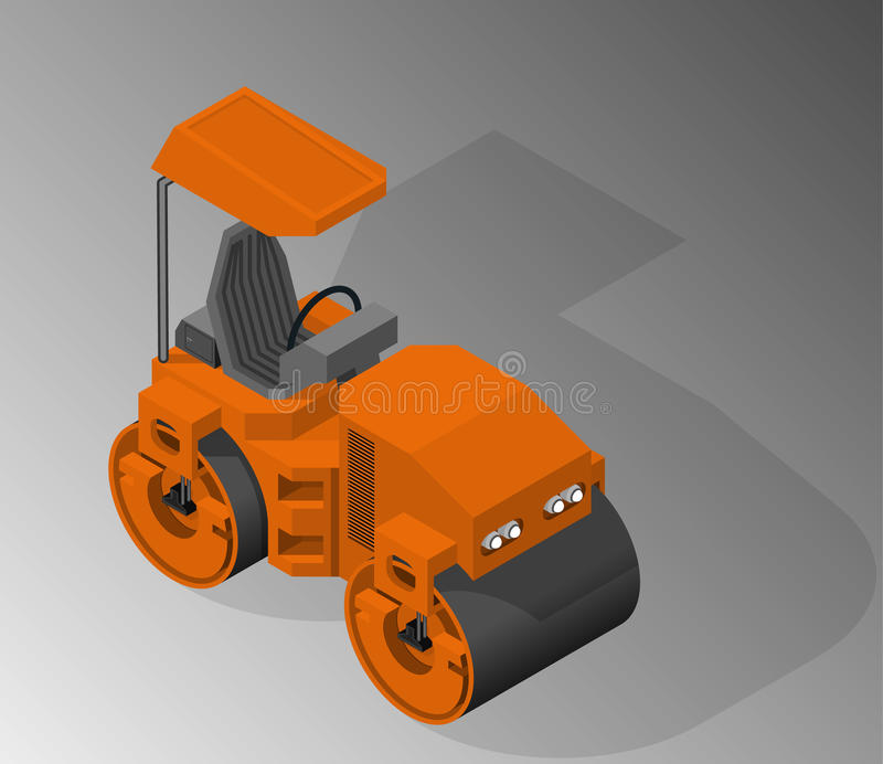 Equipment for the construction industry. Vector isometric illustration of a road roller. Equipment for the construction industry vector illustration