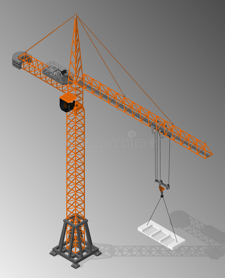 Equipment for the construction industry. Vector isometric illustration of tower crane. Equipment for the construction industry royalty free illustration