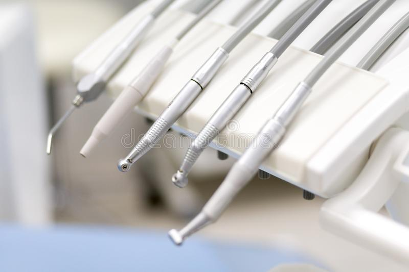 Equipment and dental instruments in dentist`s office. Tools close-up. Dentistry royalty free stock images