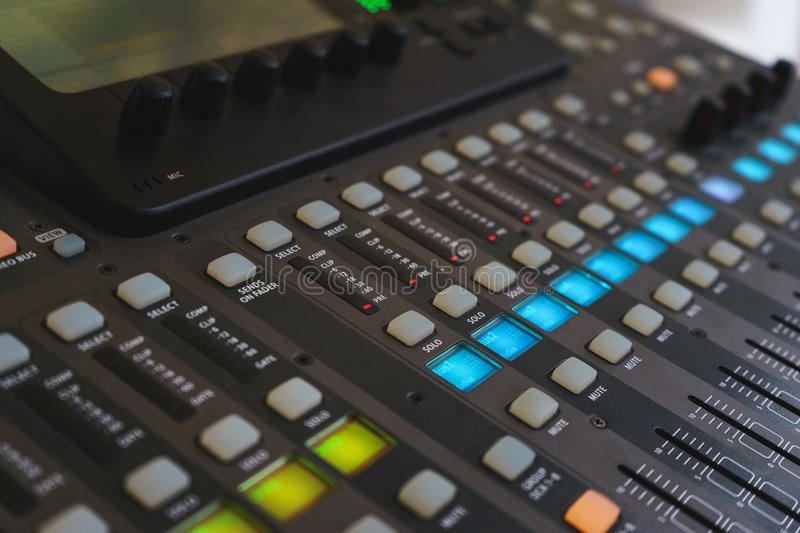 Equipment for DJ and musicians sound mixer. royalty free stock photography