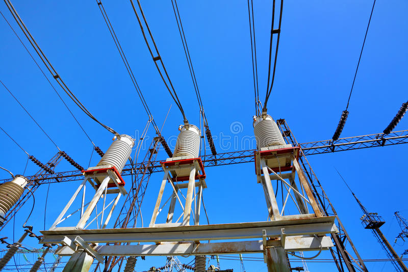 Equipment of electric substation. Industrial production and distribution of electric energy stock photos