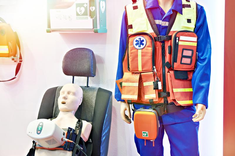Equipment emergency doctor at exhibition. Equipment emergency doctor at the exhibition royalty free stock photography