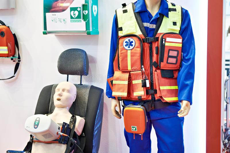 Equipment emergency doctor at exhibition royalty free stock photo