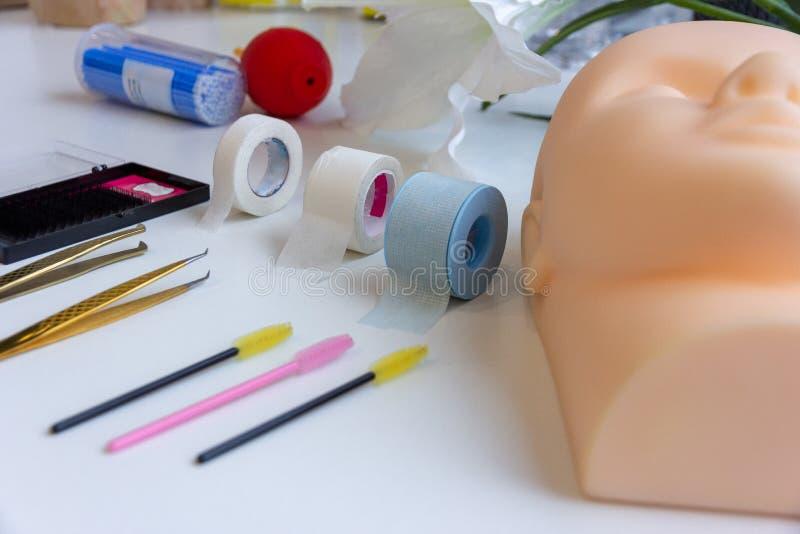 Equipment of eyelash extension. Basic training eyelash extension stock photography