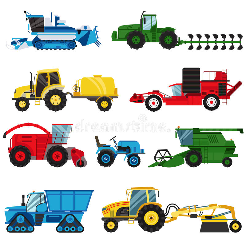 Equipment farm for agriculture machinery combine harvester vector. vector illustration