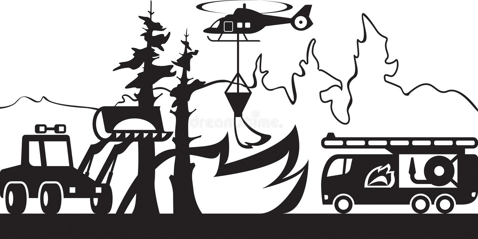 Equipment for fighting with forest fires. Vector illustration vector illustration