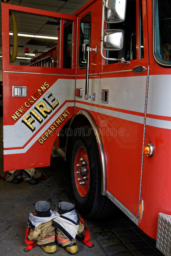 Equipment at fire station. NEW ORLEANS, LOUISIANA, May 4, 2015 : Engine 29, fire station and apparatus in French Quarter of the city of New Orleans. The New stock photo