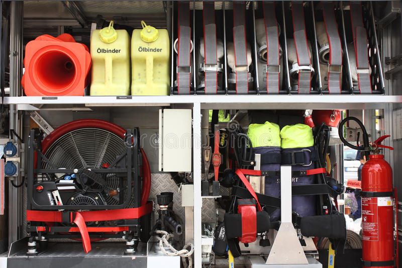 Equipment in a firetruck royalty free stock photos