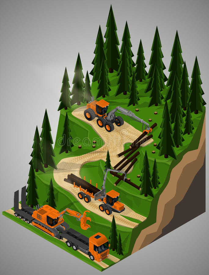 Equipment for forestry industry. Vector isometric illustration of a rubber-tired forestry harvester, feller-buncher, forwarder and truck for transportation of royalty free illustration